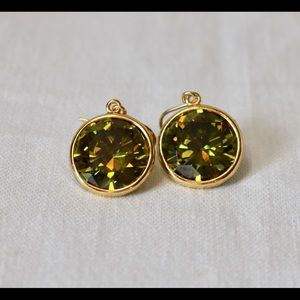 Gold tone green crystal earrings